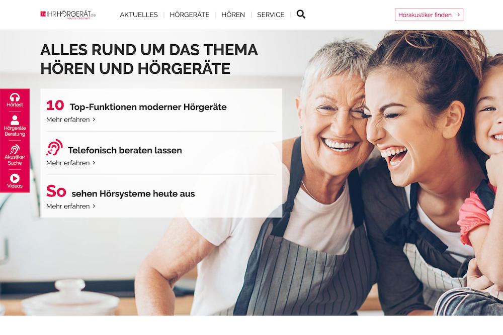 Screenshot der Webseite ihr-hörgerät.de